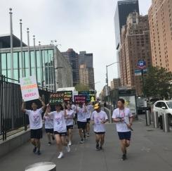 경북 문경고 학생들 맨해튼 평화마라톤