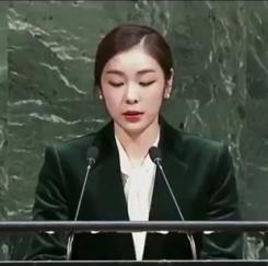 """""""남북 동시입장 감명"""" 김연아 UN연설"""